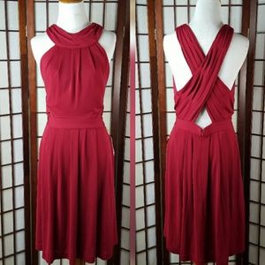 ABS ESSENTIALS RED X BACK Pleated Lined DRESS